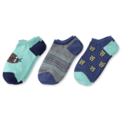 3-Pack Boys Rocket & Football Low Cut Socks