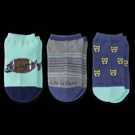 3-Pack Boys Rocket & Football Low Cut Socks