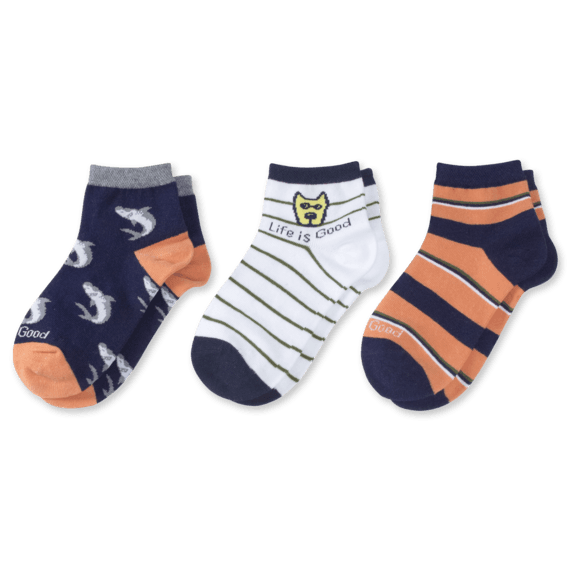 3-Pack Boys Rocket & Shark Quarter Socks