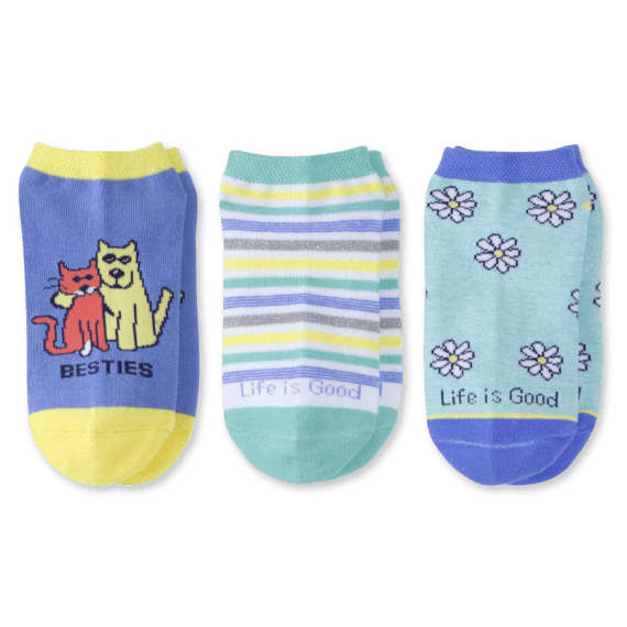 3-Pack Girls Daisy & Besties Low Cut Socks