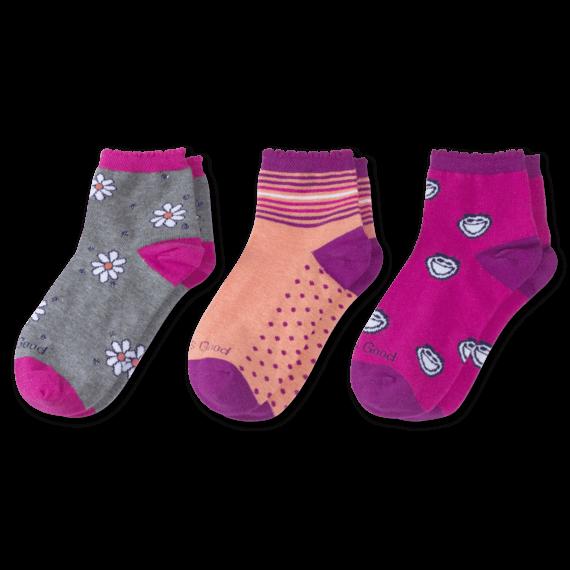 3-Pack Girls Jake & Daisy Quarter Socks