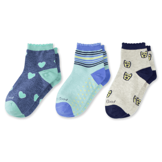 3-Pack Girls Rocket & Hearts Quarter Socks