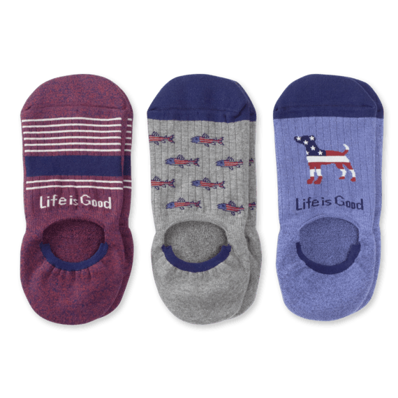 3-Pack Men's Americana Cushioned Invisible No Show Socks