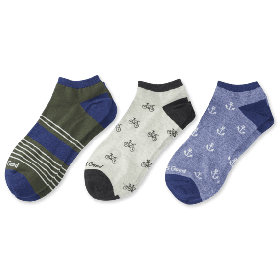 3-Pack Men's Bikes & Anchors Low Cut Socks