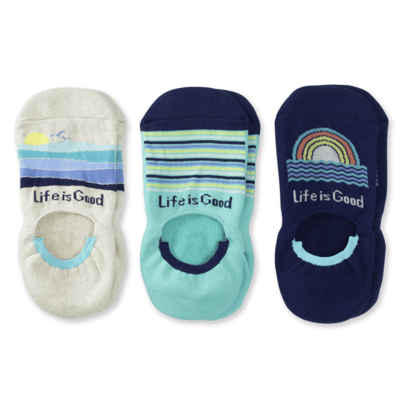 3-Pack Women's Beach Cushioned Invisible No Show Socks