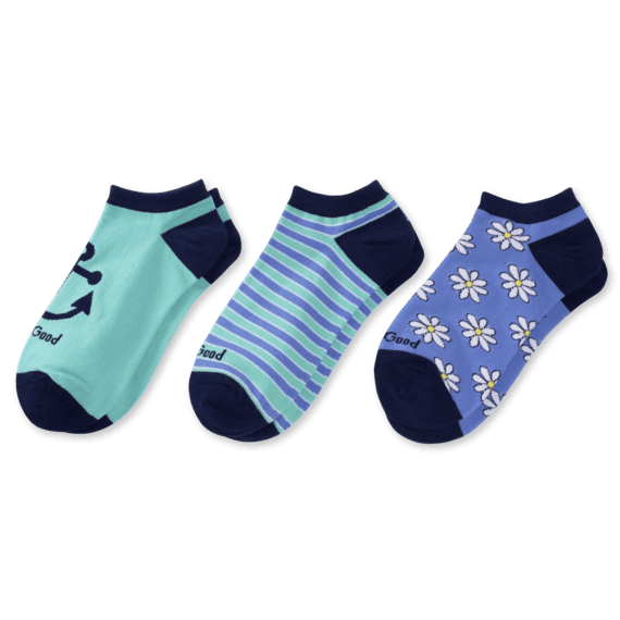 3-Pack Women's Daisy & Anchor Low Cut Socks