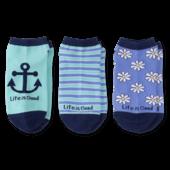 3-Pack Women's Daisy & Anchor Low Cut Socks