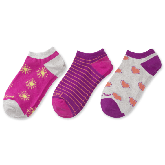 3-Pack Women's Hearts & Suns Low Cut Socks