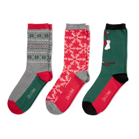 3-Pack Women's Holiday Crew Socks