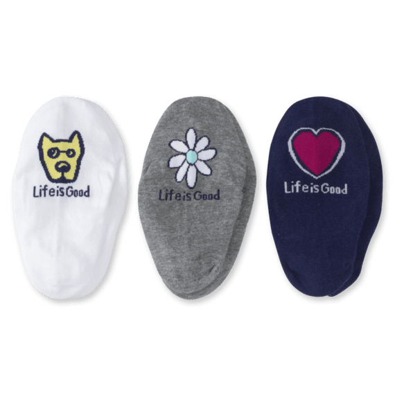 3-Pack Women's Rocket, Daisy, Heart Liner Socks