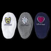 3-Pack Women's Rocket, Daisy, Heart Liner Socks