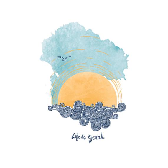 Life Is Good Sunset Swirl Wall Art