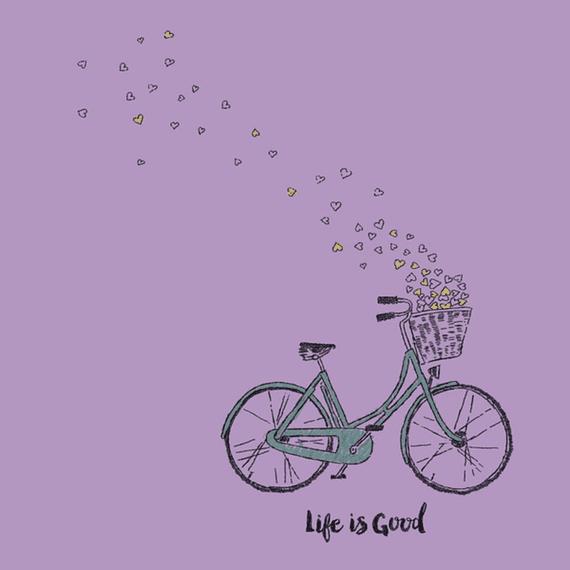 Bike Heart Basket Life Is Good Wall Art