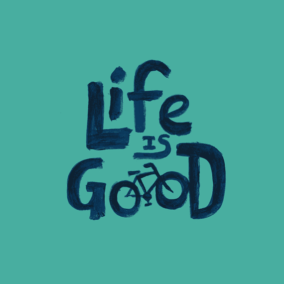 Life Is Good Bike Painted Wall Art