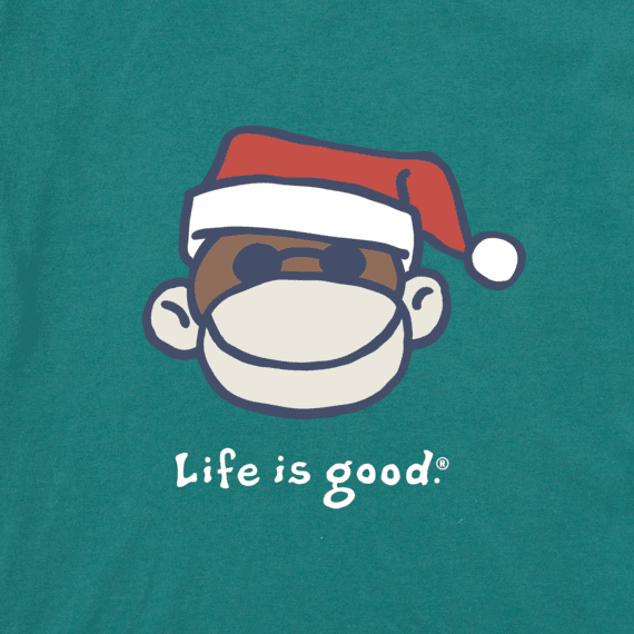 Baby Monkey Santa Long Sleeve Vintage Crusher Bodysuit