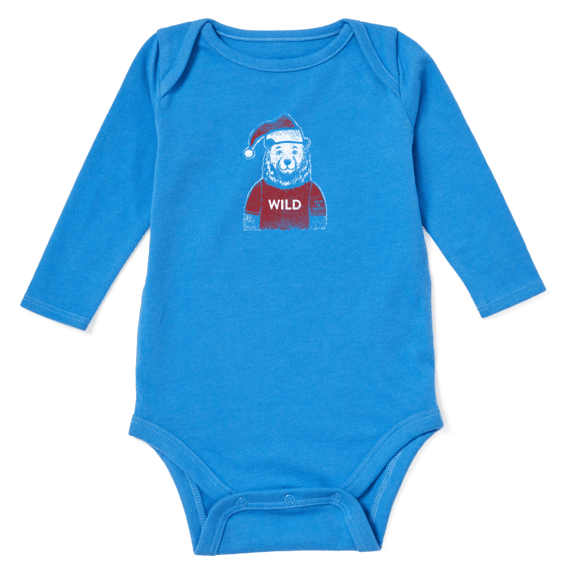 Baby Wild Santa Bear Long Sleeve Crusher Bodysuit