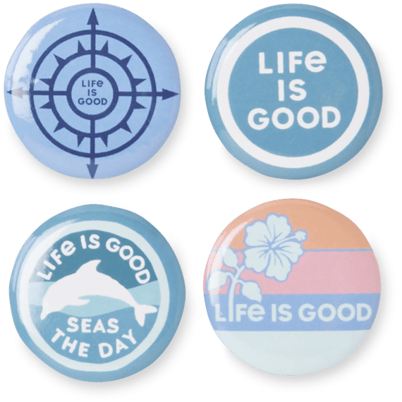 Beach Button Pack Positive 4-Pins Pack