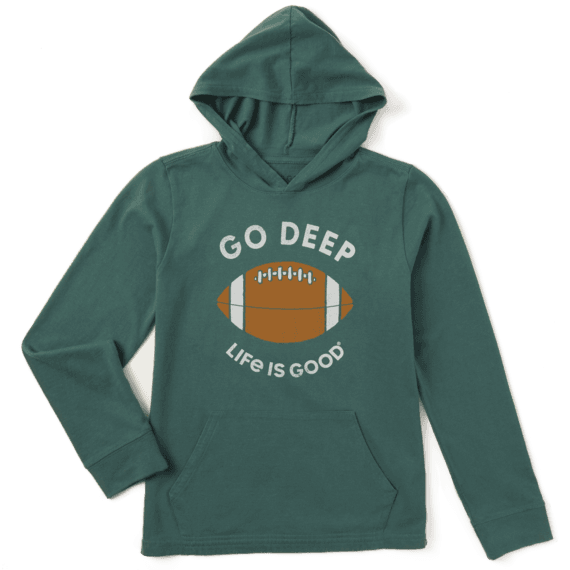 Boy's Go Deep Football Boys Hooded Crusher Tee