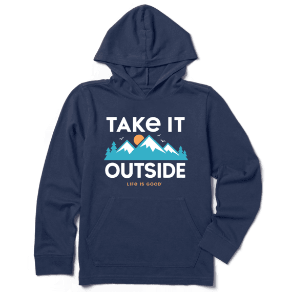 Boys Outside Mountains Hooded Crusher Tee