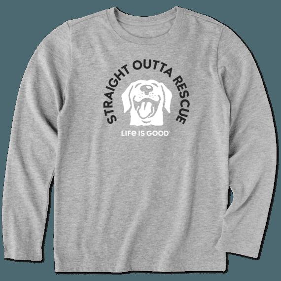 Boys Rescue Dog Long Sleeve Crusher Tee