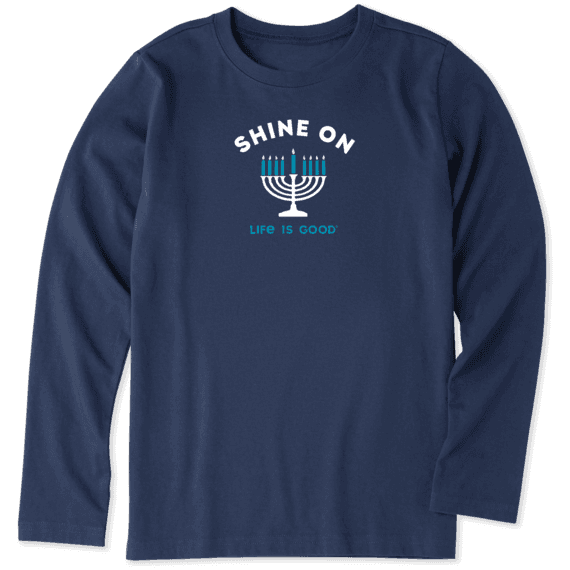Boys Shine On Menorah Long Sleeve Crusher Tee