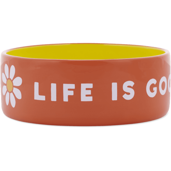 38oz Ceramic Daisy Life is Good Dog Bowl