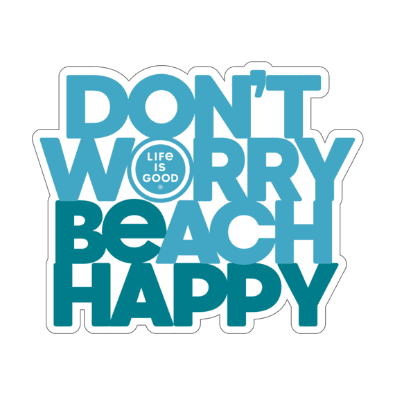 Don't Worry Beach Happy Small Die Cut Decal