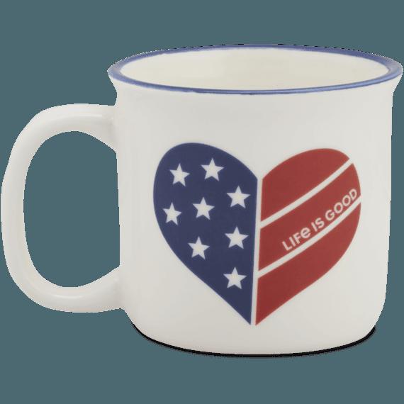Flag Heart Happy Camper Mug