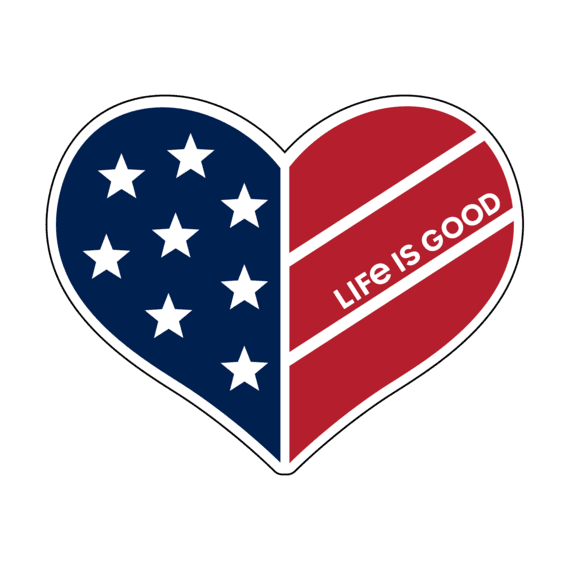 Flag Heart Small Die Cut Decal