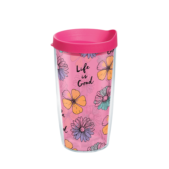 Floral Pattern Tervis Tumbler with Lid, 16oz