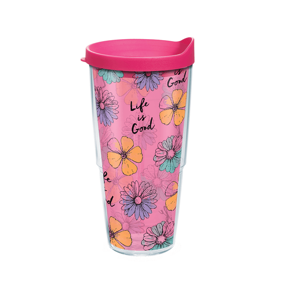Floral Pattern Tervis Tumbler with Lid, 24oz