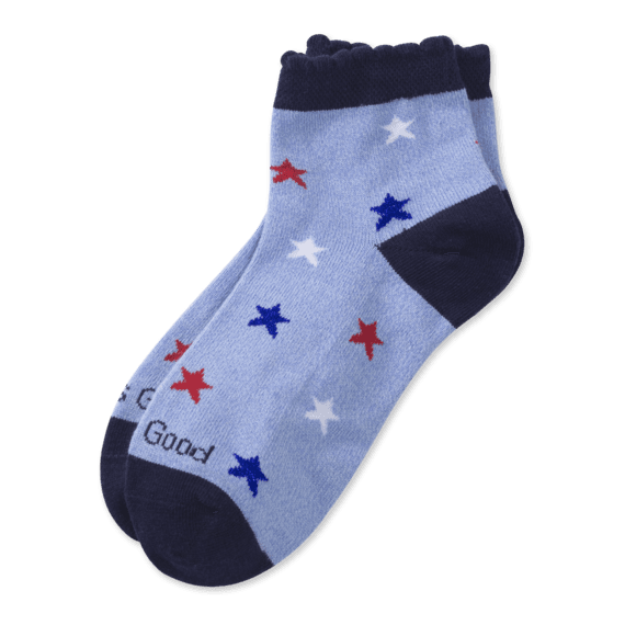 Girls Americana Stars Quarter Socks