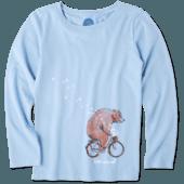 Girls Bear Bike Flowers Long Sleeve Crusher Tee