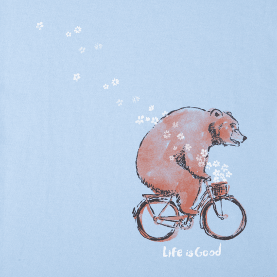 Girls Bear Bike Flowers Long Sleeve Crusher Tee