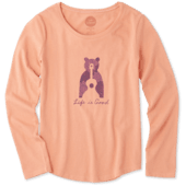Girls Bear Guitar Smiling Long Sleeve Smooth Tee