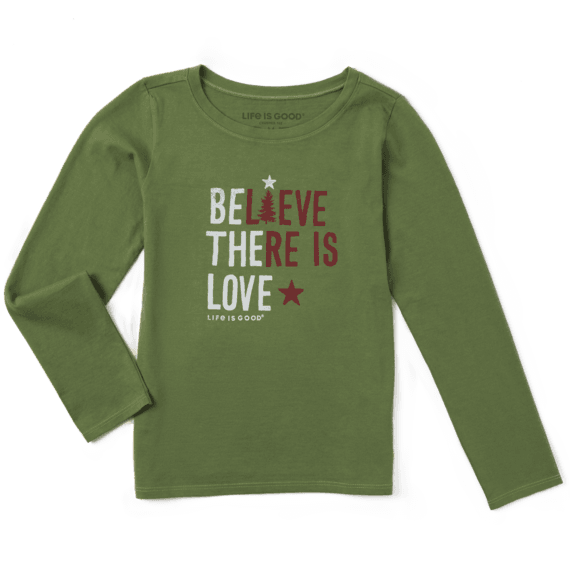 Girls Believe There Is Love Long Sleeve Crusher Tee