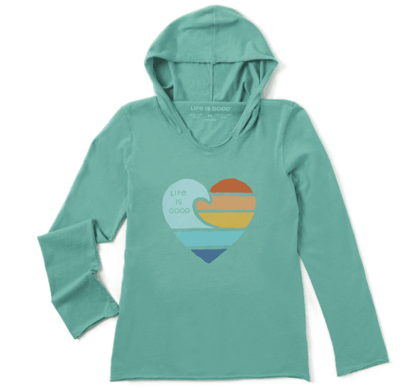 Girl's Clean Beach Heart Girls Hooded Smooth Tee