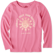 Girls Create Your Own Sunshine Long Sleeve Crusher Tee
