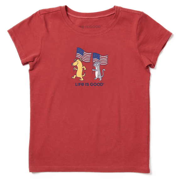 Girls Dog Cat Flags Crusher Tee