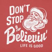 Girls Don't Stop Believin Santa Long Sleeve Crusher Tee