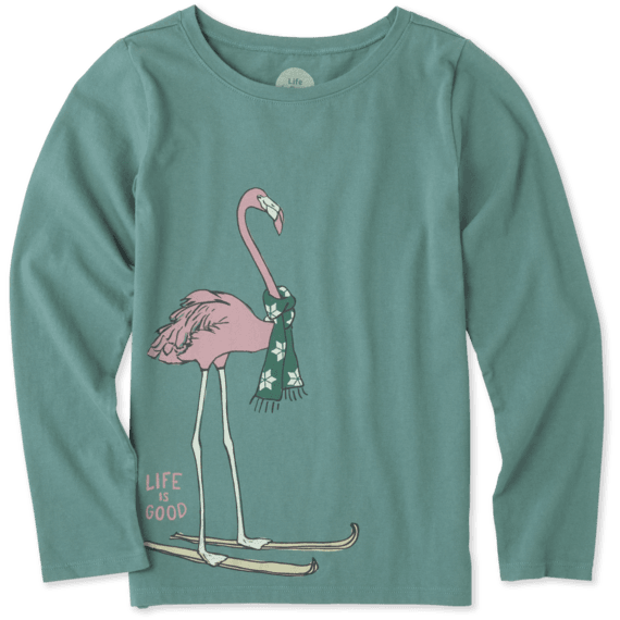 Girls Festive Flamingo Long Sleeve Crusher Tee