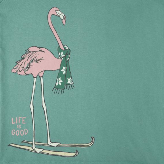 Girls Festive Flamingo Long Sleeve Crusher Tee
