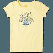 Girls Flower Book Crusher Tee