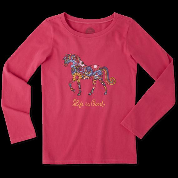 Girls Flower Swirl Horse Long Sleeve Crusher Tee