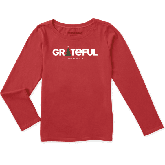 Girls Grateful Holiday Long Sleeve Crusher Tee