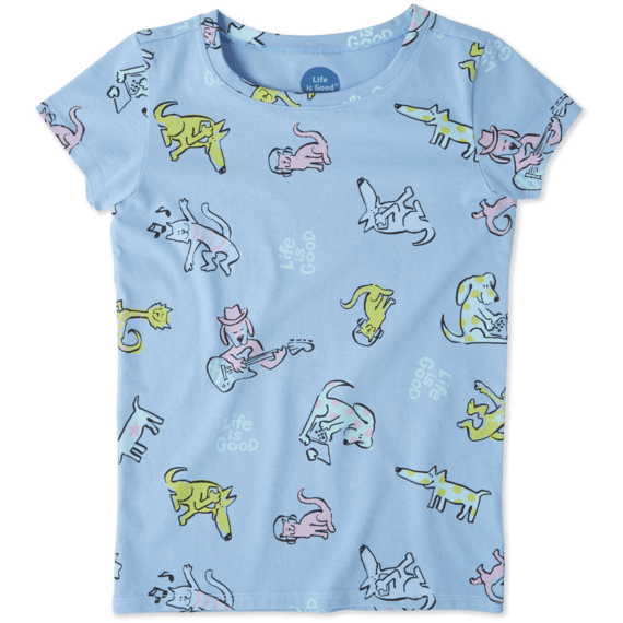 Girls Happy Dog Print Crusher Tee
