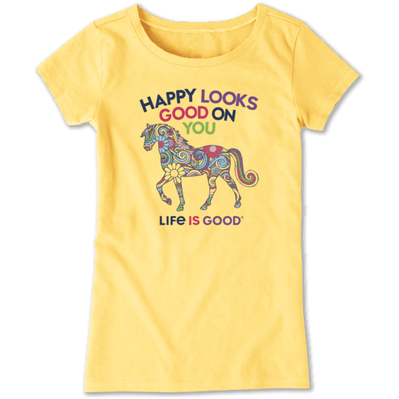 a1ebd6cec635 Sale Girls Happy Looks Good On You Crusher Tee | Life is Good ...