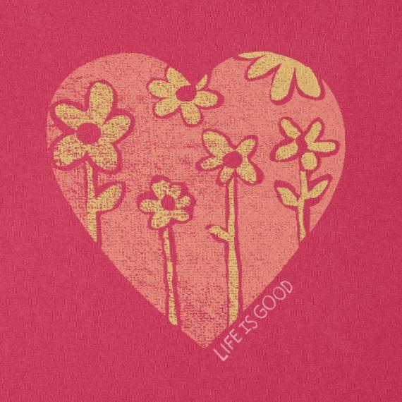 Girls Heart Flowers Crusher Tee