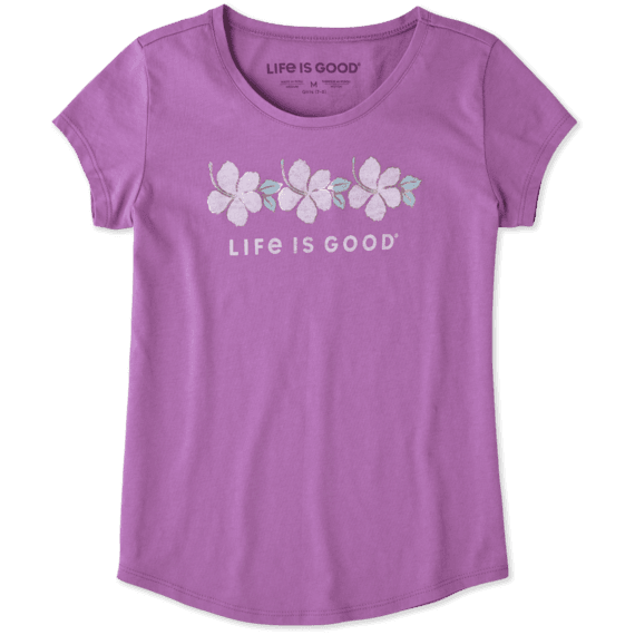 Girls Hibiscus Stripe Smiling Smooth Tee