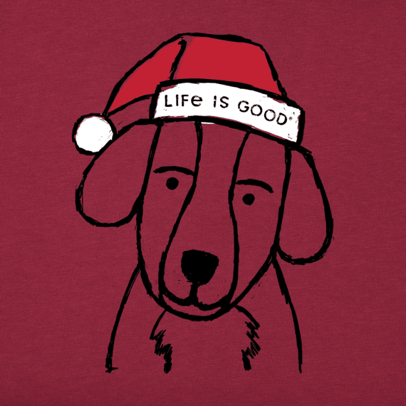 Girls Holiday Grunge Dog Long Sleeve Crusher Tee